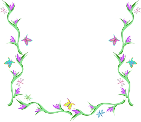 Frame of Flowers, Butterflies, and Dragonflies