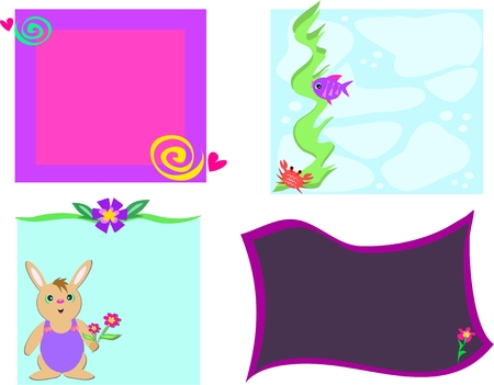 Mix of Frames of Designs, Flowers, Rabbit, and Fish Vector