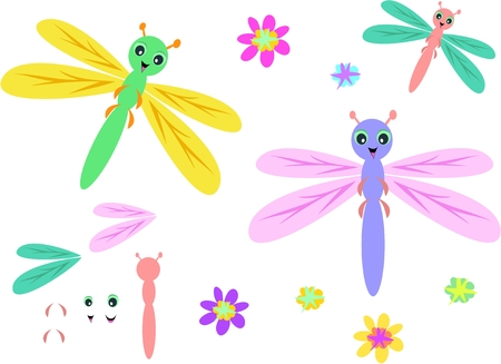 antenna dragonfly: Mix of Dragonflies, Parts, and Flowers
