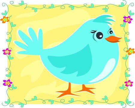 Framed Blue Bird Stock Vector - 7487268