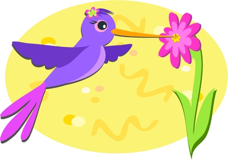 Purple Hummingbird and Pink Flower Vector