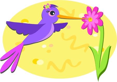 Purple Hummingbird and Pink Flower Vector