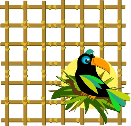 grid: Toucan with Bamboo Grid Illustration
