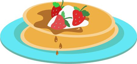 Pancakes and Strawberries on a Plate Banco de Imagens - 7487292