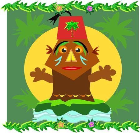 tiki head: Tiki with a Fez Hat Illustration