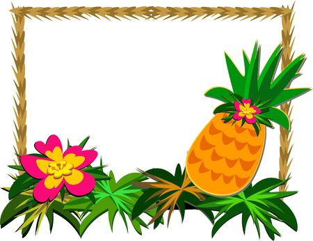 Frame of Tropical Pineapple and Flower Ilustração