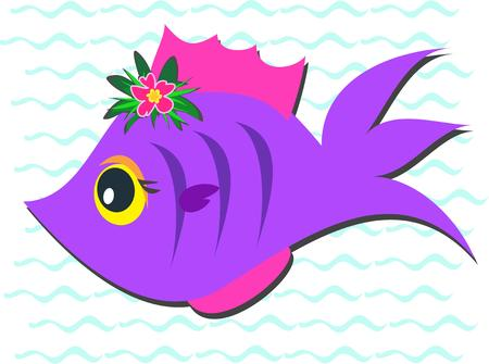 Purple Fish with Hibiscus Flower Stock Vector - 7513155