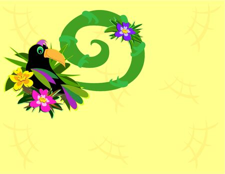Frame of Toucan and Spiral Stock Vector - 7513170