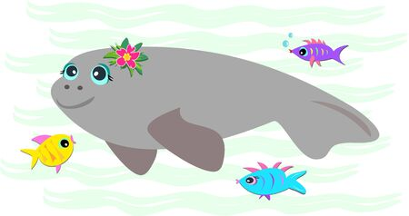 manatee: Peaceful Manatee with Friendly Fish