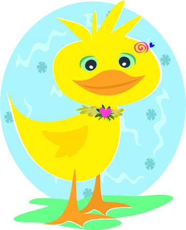 Duck with Spiral Background 矢量图像