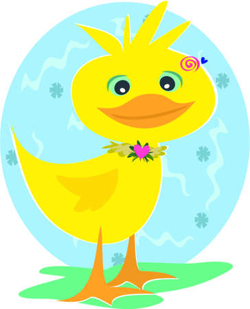 cartoon duck: Duck with Spiral Background Illustration