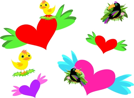 Mix of Hearts, Wings, and Birds Stock Vector - 8210057