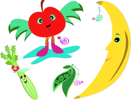Mix of Healthy Fruits and Vegetables 向量圖像