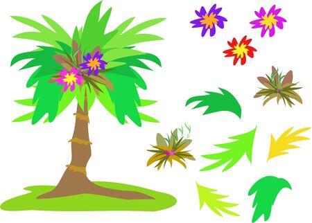 熱帯ヤシの木、花や葉のミックス