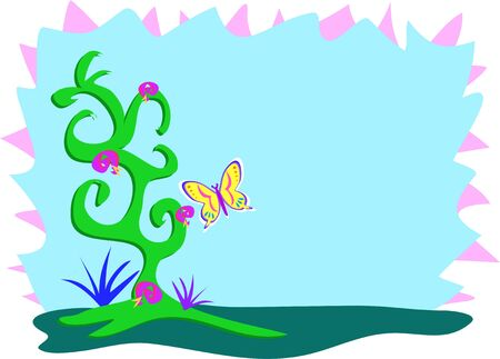Decorative Frame of Plants and Butterfly Illustration