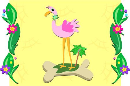 Plant Frame with Pink Flamingo Vector