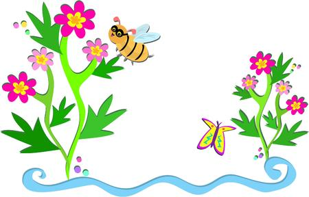 Flowers, Bees, and Plants Vector