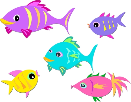 Colorful Group of Fish Vector