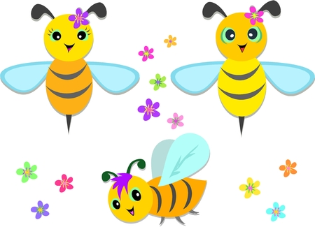 Mix of Flying Bees and Flowers Stock Vector - 8210042