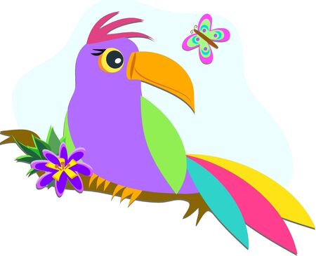 Tropical Bird with Butterfly