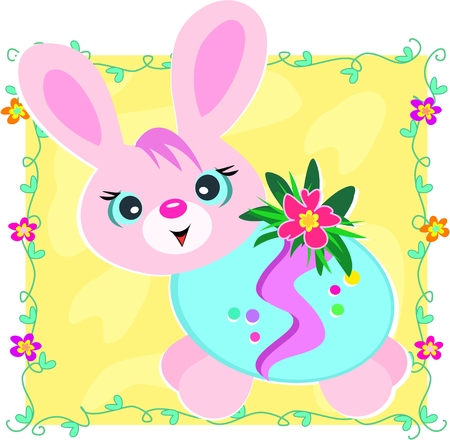 festive occasions: Happy Easter Bunny in Decorated Egg
