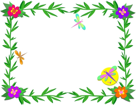 Frame with Bamboo, Flowers, and Insects Illustration