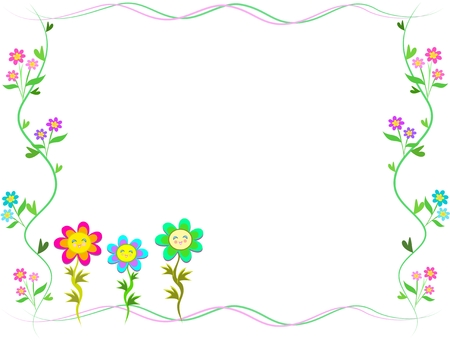 Frame of Trio Happy Flowers 일러스트