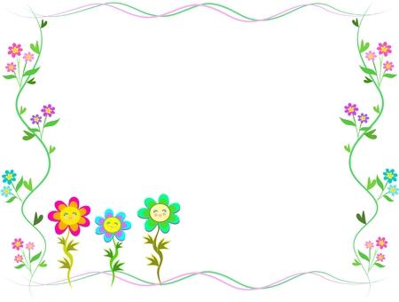 Frame of Trio Happy Flowers Illustration