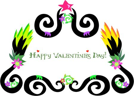 festive occasions: Frame of Happy Valentines Day with Star Illustration