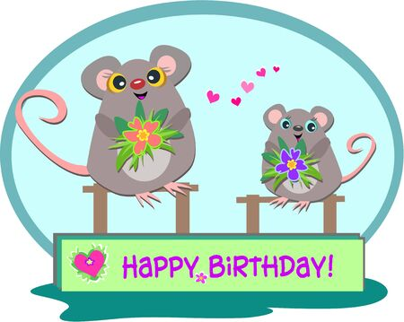Two Mice with a Happy Birthday Greeting Vector