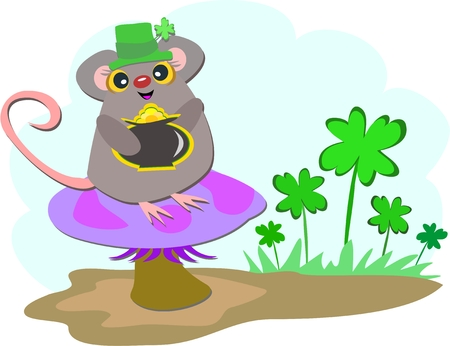 festive occasions: Saint Patrick Mouse Illustration