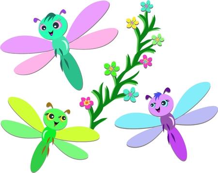 Trio of Cute Dragonflies