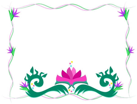 Wispy Frame with Lotus Flower