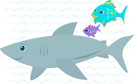 Shark with Two Colorful Fish Vector