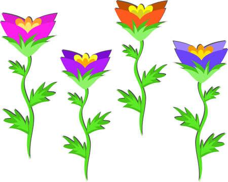 Vier bloemen in een rij