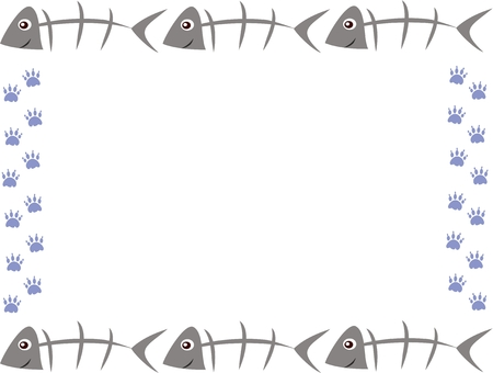 Frame of Fish Bones and Paw Prints Vector