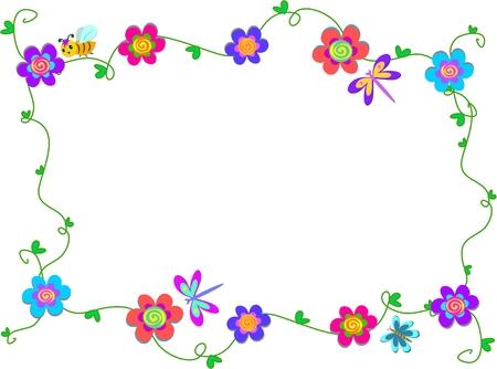 Frame van spiraal bloemen en Bugs Stock Illustratie