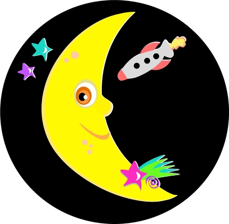 moon: Smiling Moon with Rocket and Stars
