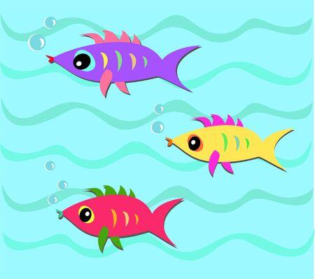Three Colorful Fish in the Sea Stock Vector - 8372269
