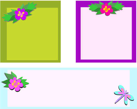 Mix of Frames with Flowers and Dragonfly