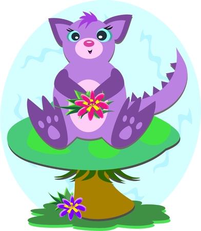 Purple Dragon on a Mushroom Vector
