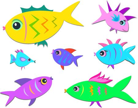 Seven Cute Fish Vector