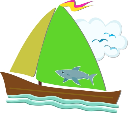 Sailboat with Shark Sail