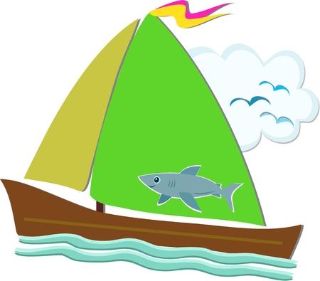 sail fin: Sailboat with Shark Sail
