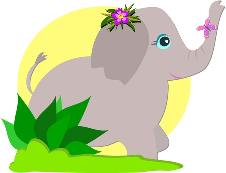 cute: Cute Elephant and Butterfly