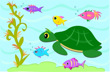aquatic plants: Turtle and Fish Friends Illustration