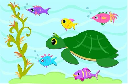 aquatic reptile: Turtle and Fish Friends Illustration