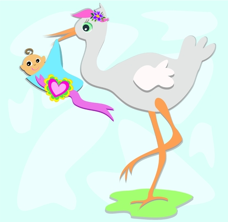 Stork and Baby with Heart Stock Vector - 8816291