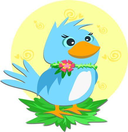 Blue Bird with a Flower Collar