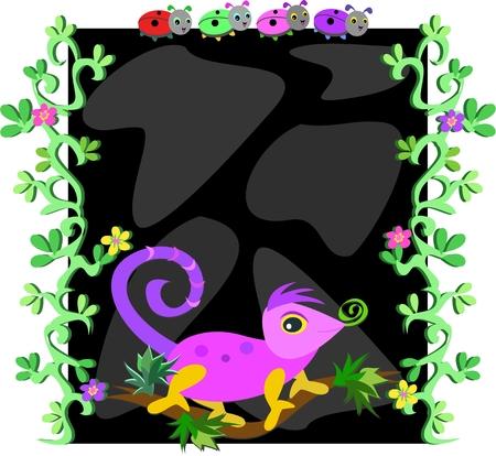 Nature Frame of Vines, Flowers, Ladybugs, and Chameleon